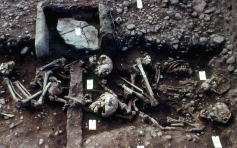 The younger and older children had been buried back to back CREDIT: UNIVERSITY OF BRISTOL
