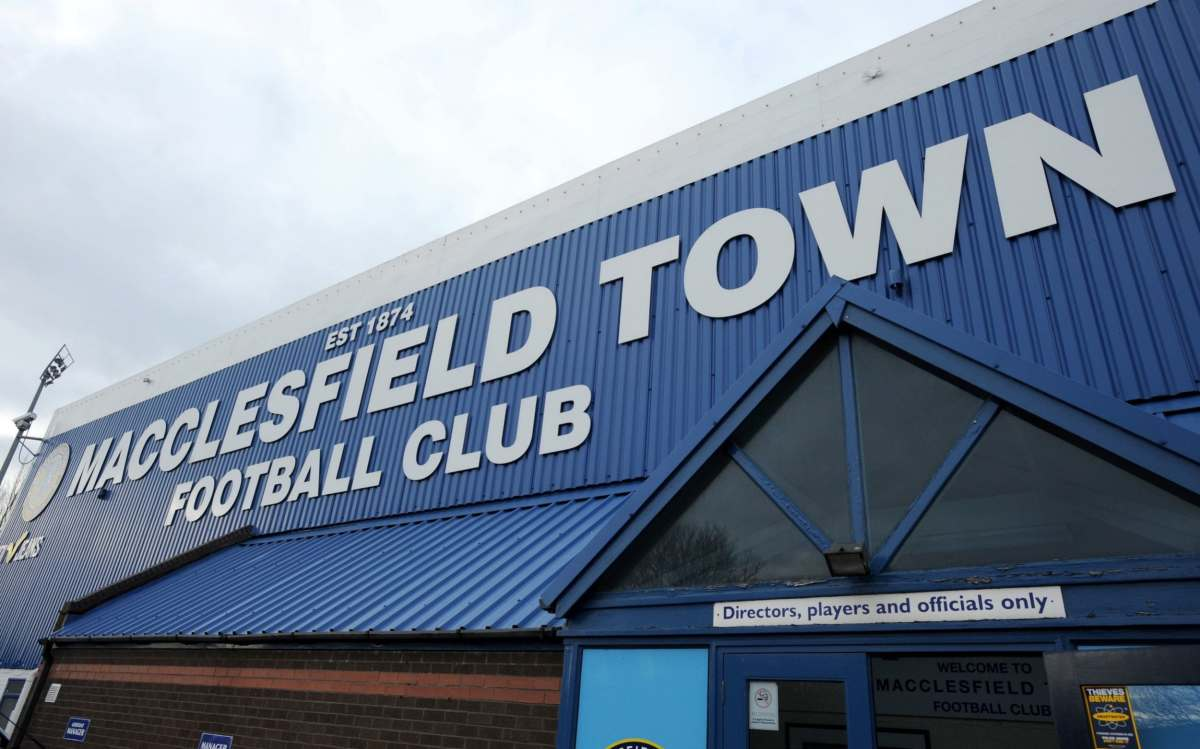 A general view of Macclesfield Town's football ground Moss Rose