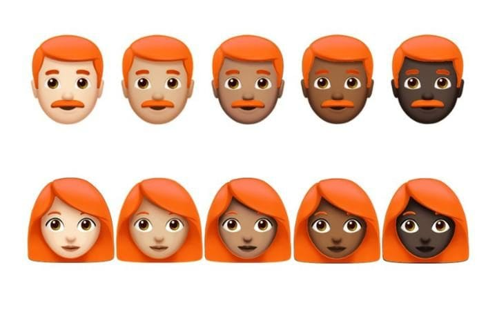 Options for multiple redhead emoji with different skin tones