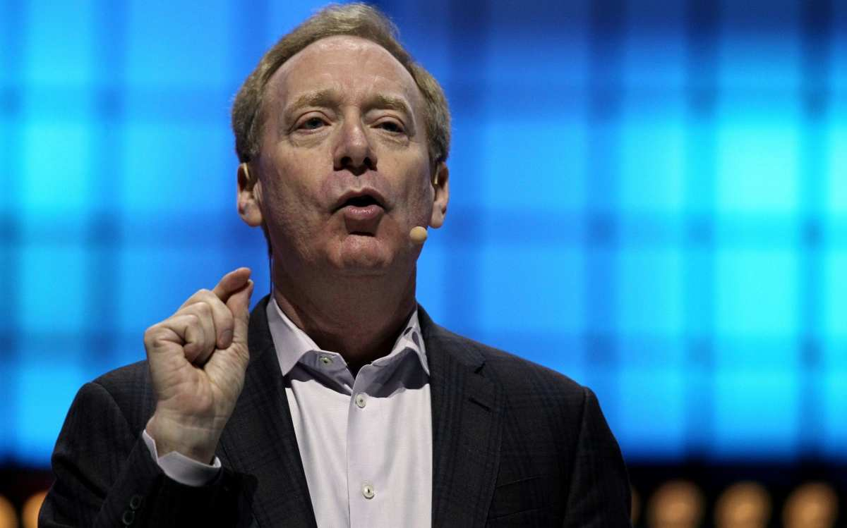Microsoft's President Brad Smith speaks at the Web Summit in Lisbon in 2019