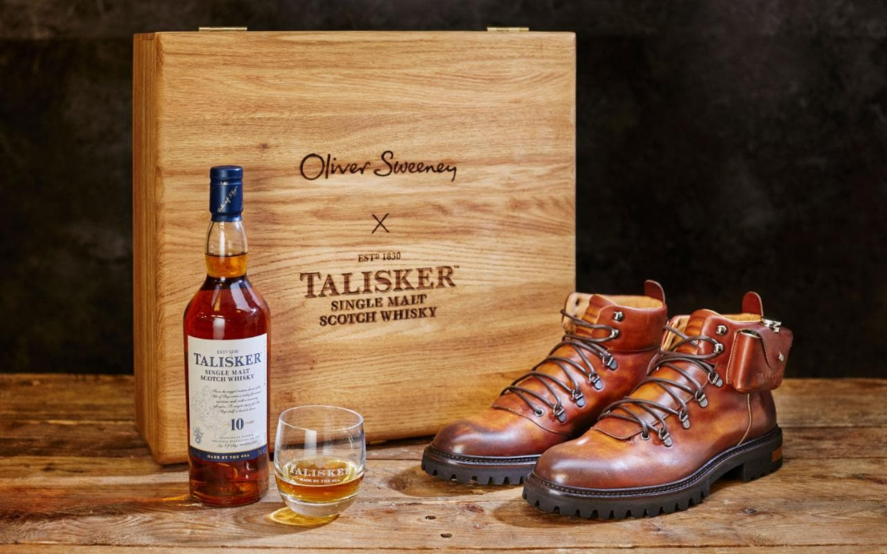 Talisker gift set  luxury walking boots and whisky