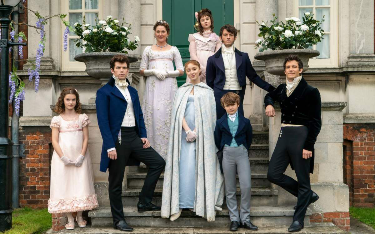 The Bridgerton family (with Jonathan Bailey as eldest child Anthony, second from the right)