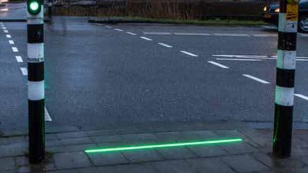Pavement lights installed near Dutch schools to guide