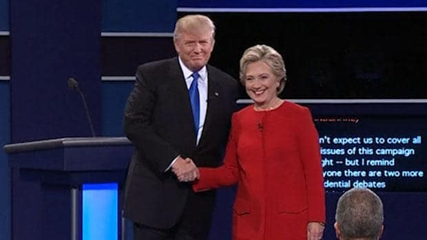 Image result for donald trump reaching toward hillary clinton
