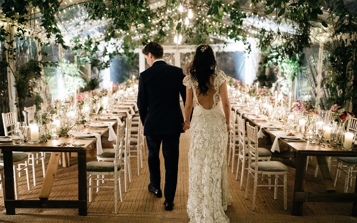 Venetia and Max La Manna used British flowers and greenery to decorate their wedding venue