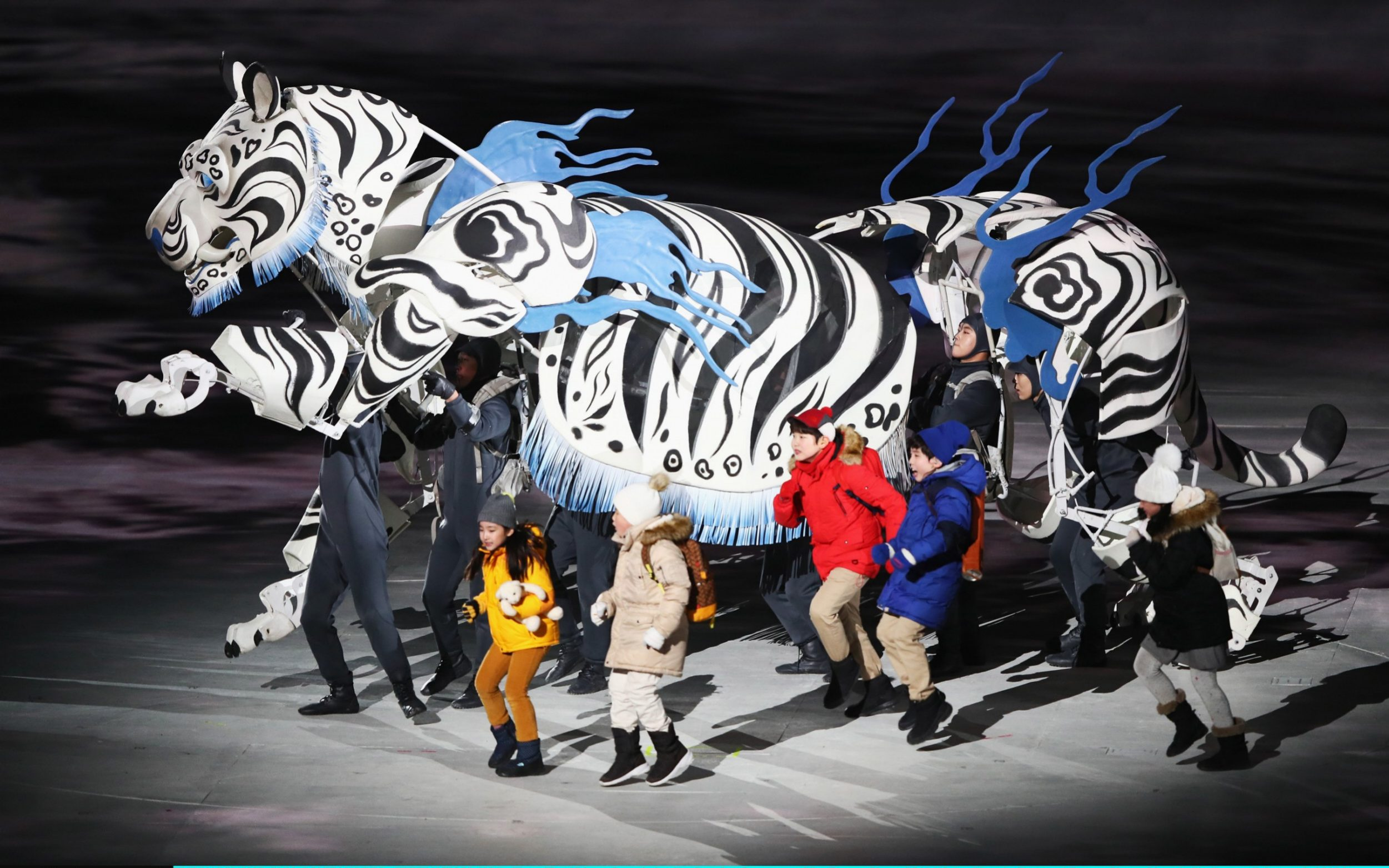 White Tiger & Five Kids perform during the Opening Ceremony of the PyeongChang 2018 Winter Olympic Games