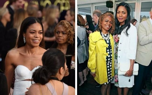 Naomie Harris with her mother, Carmen at the 2017 Oscars; and pictured together last year
