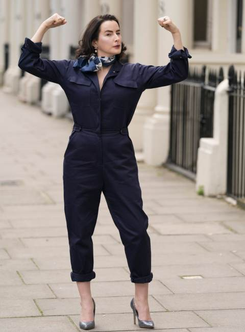Hannah Betts wearing a Spry Workwear boiler suit