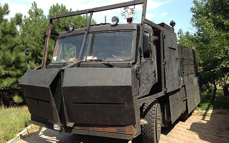 A converted truck with steel shutters used by the Azov battalion and known to the fighters as 'the Lump of Iron' (Tom Parfitt)