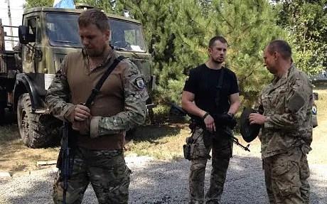 Andriy Biletsky, in black T-shirt, commander of Ukraine's Azov battalion (Tom Parfitt)