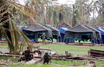 Government refugee camps to house cyclone survivors in KhonChanGone township, Yangon, Burma