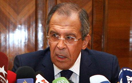 Russian Foreign Minister Sergei Lavrov speaks at a press conference in Moscow