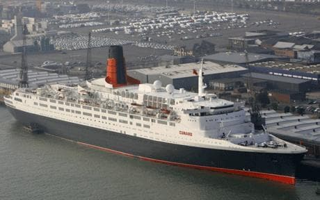 The QE2 in its home port.