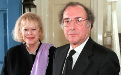 Harold Pinter and Lady Antonia Fraser at Anthony Dymoke Powell Memorial at Grosvenor Chapel in 2002
