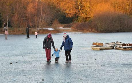 Sea frozen as cold weather grips Britain