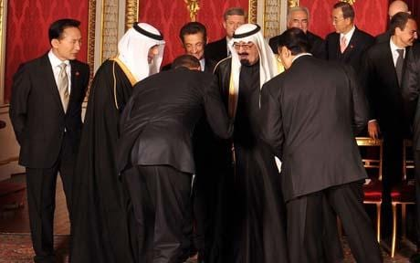 The President of the United States Barack Obama greets King Abdullah of Saudi Arabia.