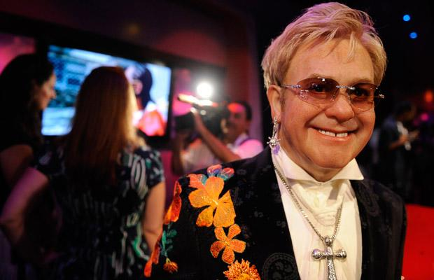A waxwork of singer Elton John is seen at the opening of Madame Tussauds Hollywood in Los Angeles