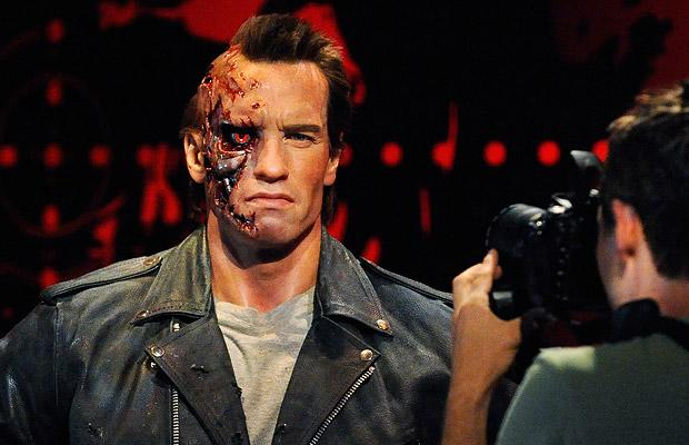 A likeness of actor Arnold Schwarzenegger is photographed at the opening of Madame Tussauds Hollywood
