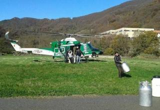 elicottero per mungere le mucche