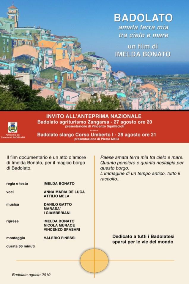 locandina invito proiezione video su BADOLATO - Imelda Bonato - 27-29 agosto 2019 - ITER