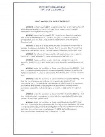 Declaración de emergencia que proclamó hoy el gobernador de California