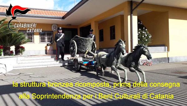 Ritrovata ad Aci Catena e Piazza Armerina la biga Morgantina rubata nel 2017 dal cimitero di Catania – VIDEO