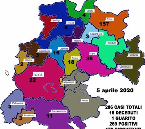 Coronavirus. Aggiornamento sul numero di positivi per ogni comune della provincia di Enna (5 aprile 2020)