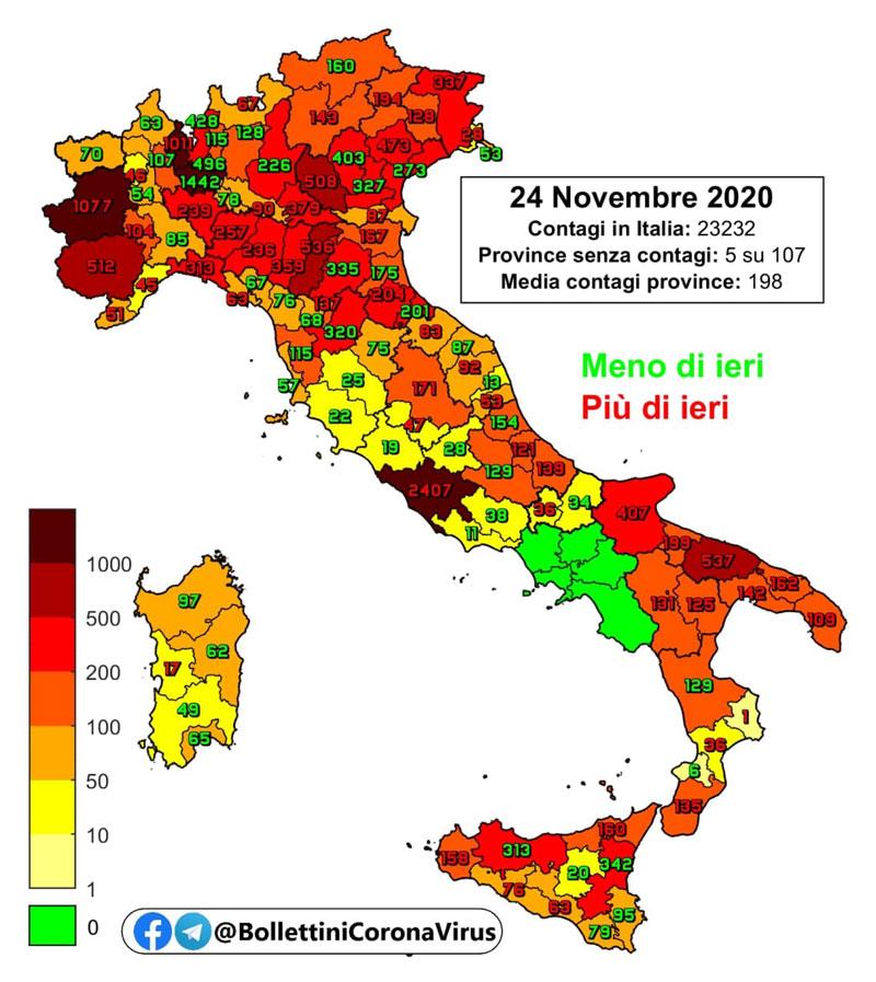 Bollettino coronavirus di oggi, 24 novembre: impennata nel numero delle vittime