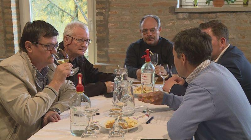 Három bizottságban értékelték a nevezett borokat a 2018-as dunakömlődi borversenyen. Fotó: TelePaks