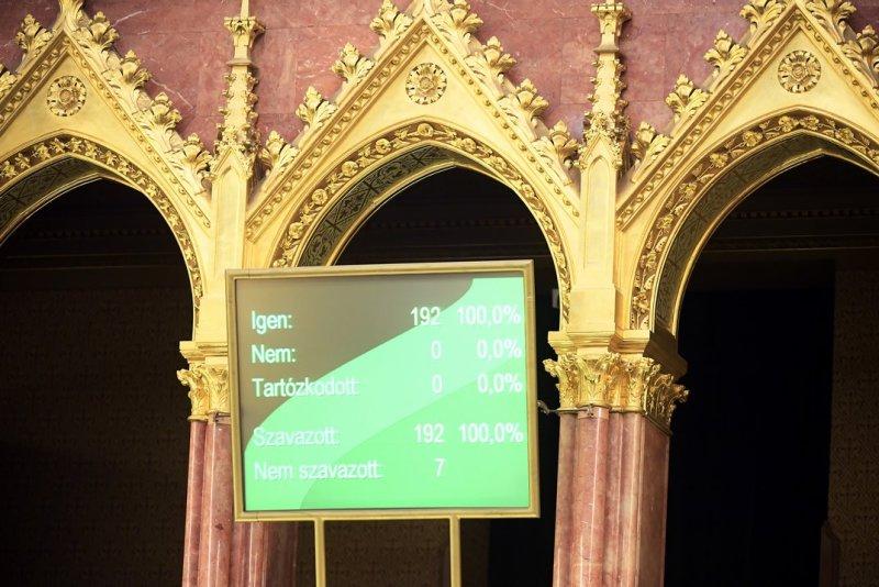 A veszélyhelyzet megszüntetéséről szóló törvényjavaslat szavazásának eredménye a kijelzőn az Országgyűlés plenáris ülésén 2020. június 16-án. Fotó: Kovács Tamás/MTI