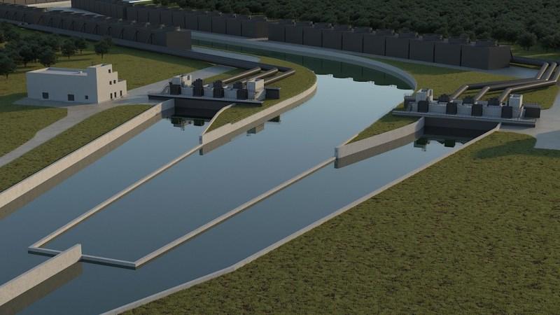 A csúcshűtők a víz hőtartalmának háromnegyedét a levegőbe juttatják. Forrás: Paks II. Zrt.