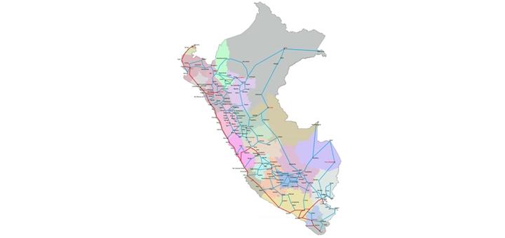 Mapa del proyecto RDNFO. En rojo la red existente y en celeste la red proyectada ideal. Imagen: MTC.