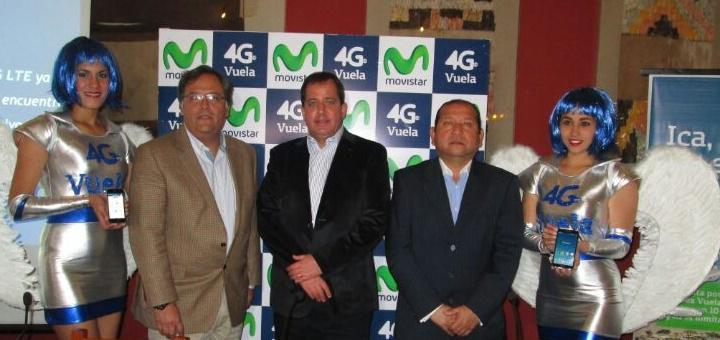 Juan Zegarra, Robert Kemp y Miguel Cevallos en la inauguración de la red LTE en Ica y Chimbote. Imagen: Movistar