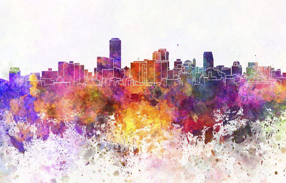 Adelaide skyline in watercolor background cidade predio