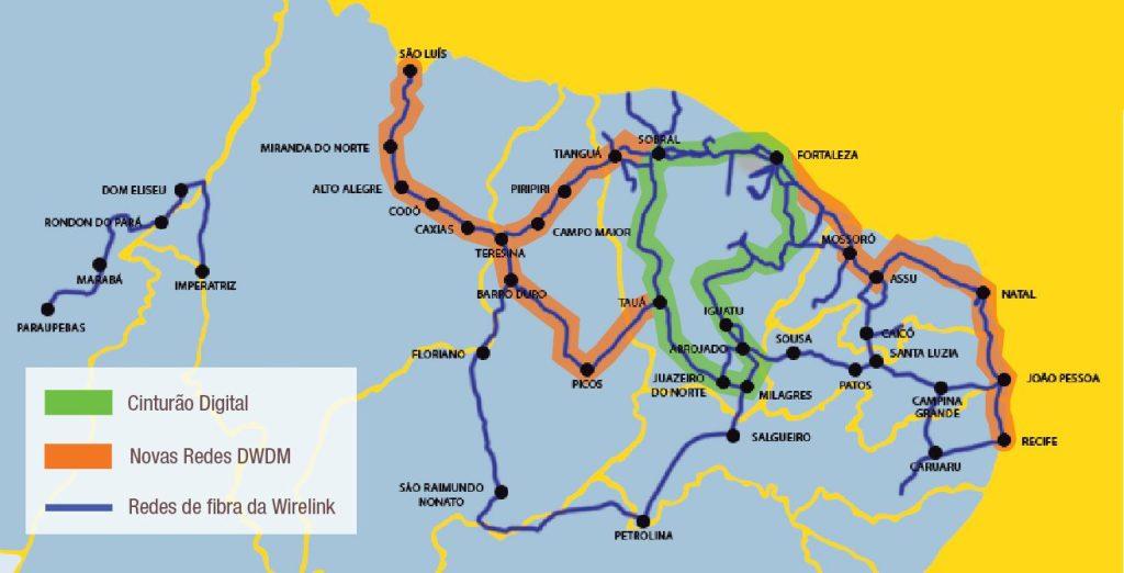 mapa rede dwdm wirelink padtec