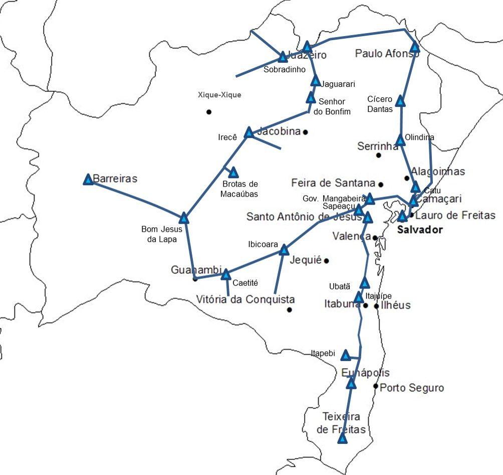Rede da Bahia com  24 POPs, sobre a infraestrutura da Chesf