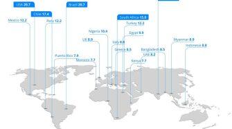 Mapa com a média mensal de spam telefônico por usuáio