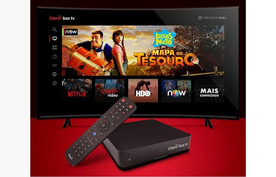 Box TV diante de televisor