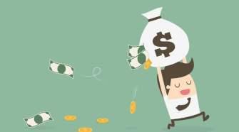 Desenho de pessoa com saco de dinheiro