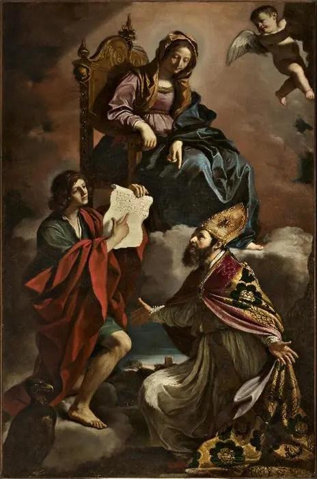 """L'olio su tela  del Guercino """"Madonna coi santi Giovanni Evangelista e Gregorio Taumaturgo'"""