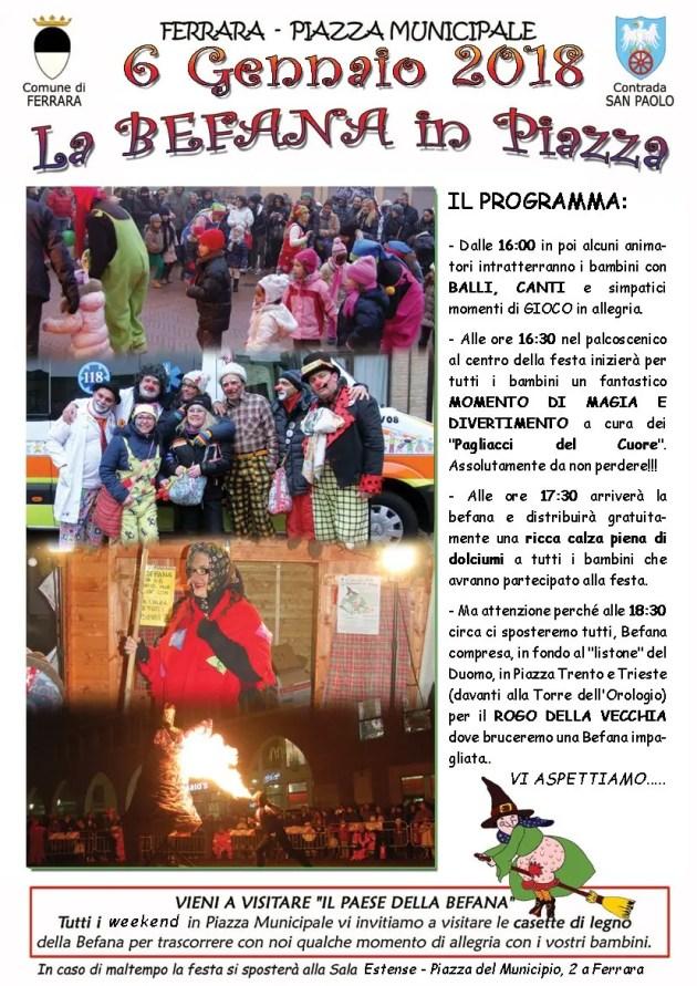 Divertimento con la Befana in piazza a Ferrara