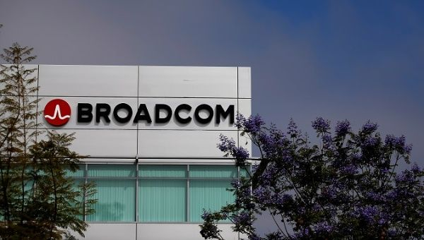 Broadcom logo is pictured on an office building in Rancho Bernardo, California May 12, 2016.