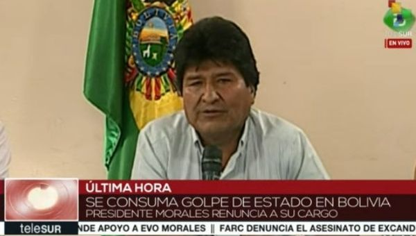 Bolivian President Evo Morales was forced to resign Sunday after two weeks of right-wing violence.