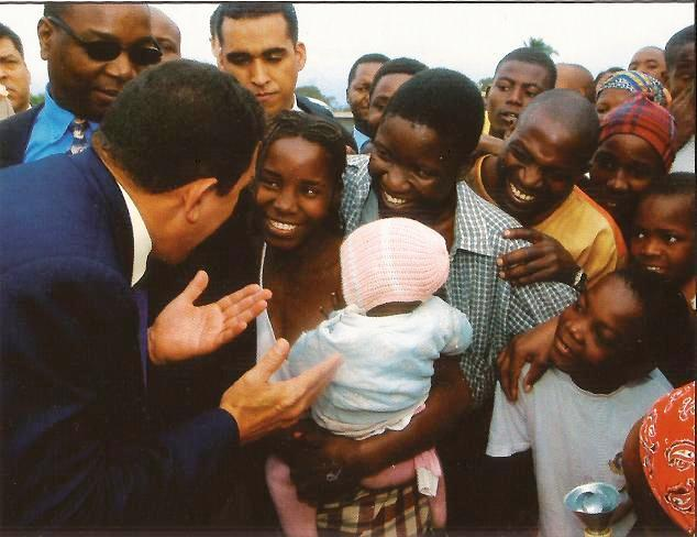President Chavez greets people during a visit to Mali in 2006. Under Chavez, Venezuela forged greater economic and cultural ties with African countries.