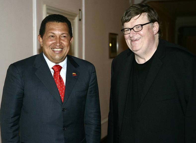 Award-winner U.S. director and activist Michael Moore was among the many celebrity voices that praised Chavez