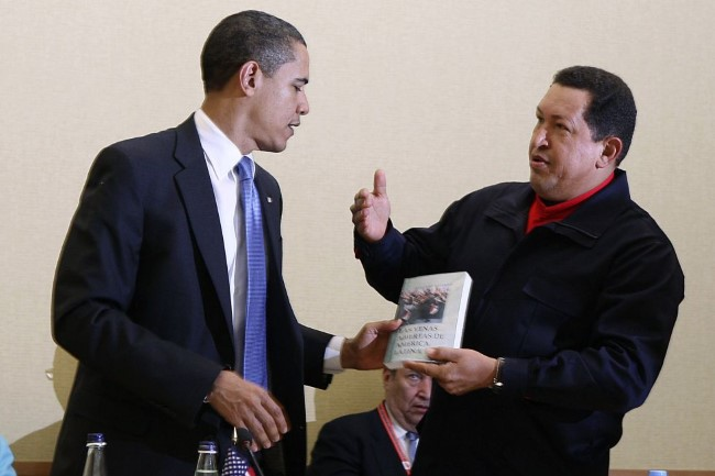 "President Chavez gives a copy of ""The Open Veins of Latin America"" by Eduardo Galeano to U.S. President Barack Obama in 2009. The book is considered one of the foremost works on how imperialism has shaped the Latin American reality."