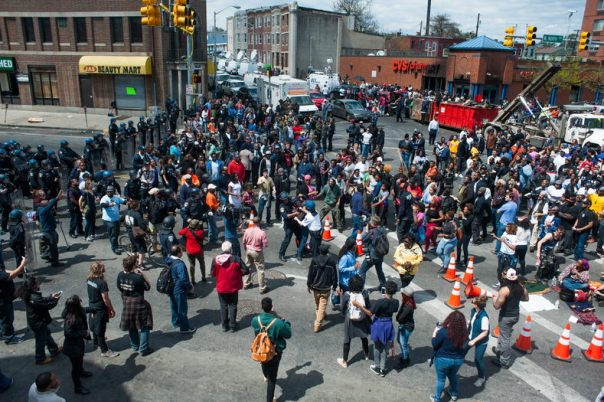 Day 2 of protests against the death of unarmed Black man Freddie Gray in Baltimore, April 28, 2015.