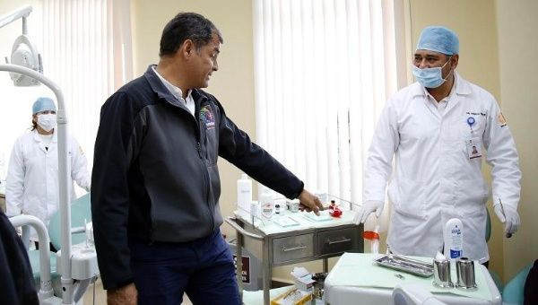 Ecuadorean President Rafael Correa tours the installations of a new health center in the province of Cotopaxi, Aug. 25, 2015.