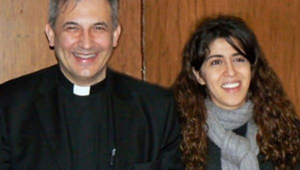 Spanish father Lucio Angel Vallejo Balda (L) and Francesca Chaoqui (R) were part of a commission set up to investigate the Church