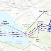 The planned Nicaragua canal route.